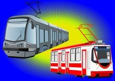 Modern trams Stock Image