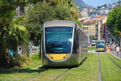 Modern trams in Nice, France royalty free stock photos