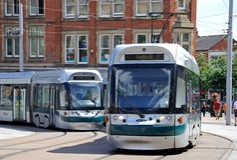 Modern trams, Nottingham. Stock Photos