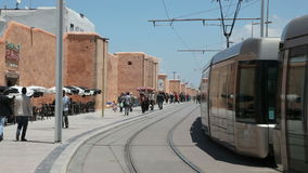 Modern tramspoor in Rabat, Marokko Stock Foto's