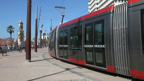 Modern tramway in Casablanca, Morocco. Modern tramway in square of the United Nations, Casablanca, Morocco, North Africa stock video footage