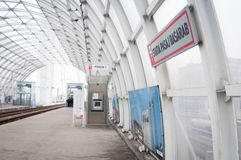 Modern tramway station. At the new basarab passage in romania Royalty Free Stock Photography
