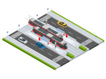 Modern Tramway on the stop and cars on the road Metropolitan mass transit system icons featuring tram car, cable car and Royalty Free Stock Photos