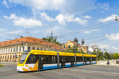 Modern tramway on the street of Debrecen Stock Image