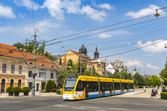 Modern tramway on the street of Debrecen Royalty Free Stock Photos