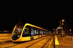 Modern tramway urban transportation in evening street in Budapes Stock Photo