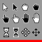 Vector pixel computer cursor icons set. Arrow, pointer, palm, drag, move, hourglass, hand cursor. Black and white EPS 10 illustrations vector illustration