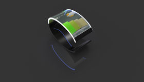 Modern transparent phone on wrist 3d illustration Stock Photography