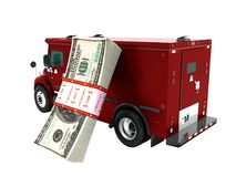 Modern transport concept stack of dollars in red cargo bank with stock illustration