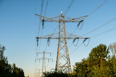 Modern transport of electricity to our homes Royalty Free Stock Photo
