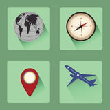 Modern travel flat icon set with shadow , desidn Royalty Free Stock Photos