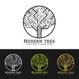 Modern tree logo sign with abstract shape line in circle vector art design stock photos
