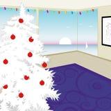 modern treewhite för jul Arkivfoto