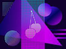 Modern trend background. Cherries with dots and gradient. Synthwave, futurism background. Retrowave. Vector. Illustration royalty free illustration