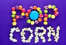 Modern Trending Pop corn Text. This is a modern, trending texture, elements that consists of pop corn Royalty Free Stock Image