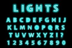 Modern trendy blue neon alphabet on a black background. LED glowing letters font. Luminescent number. Vector Stock Image