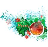 Modern trendy christmas picture with green branch Stock Photography