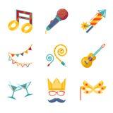 Modern trendy flat Isolated icons Gift, Party,. Birthday set vector illustration stock illustration