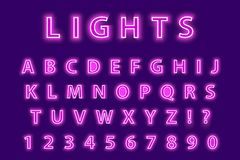 Modern trendy pink neon alphabet on a purple background. LED glowing letters font. Luminescent number. Vector Stock Images