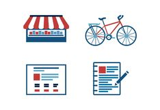 Modern trendy retro flat icons set for web sait. A bike, a shop, catalog, a notebook in blue and red colors png Stock Photos