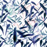 Modern watercolor bamboo seamless pattern. Shades of blue and pink stock illustration