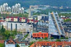 Ljubljana, Slovenia - View of the Modern architecture. Modern triangle building in Ljubljana stock photography