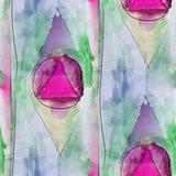 Modern triangle, circle, pink seamless watercolor artist wallpap Stock Photo