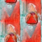 Modern triangle, circle seamless watercolor artist wallpaper tex Royalty Free Stock Image