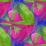 Modern triangle, green, pink seamless  watercolor artist wallpap Stock Photography