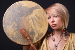 Modern Tribal Woman drum portrait. Modern Tribal Gypsy girl style Stock Image