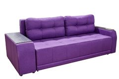 modern triple cozy purple fabric sofa with a wooden lining on the armrests on a white background royalty free stock photography