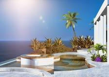 Modern tropisk uteplats som förbiser havet royaltyfri illustrationer