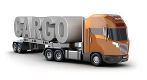 Modern truck with cargo word Royalty Free Stock Image
