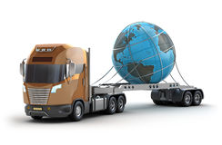 Modern truck carrying the earth Royalty Free Stock Photos