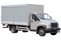 Modern truck with a grey tent isolated on white background. Modern truck with a grey tent isolated on white royalty free stock photography