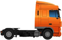 Modern truck of orange color Royalty Free Stock Photo