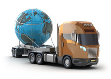 Modern truck transporting the globe Royalty Free Stock Photography