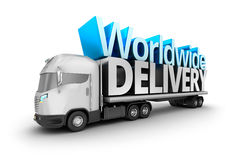 Modern truck with Worldwide delivery word Stock Photo