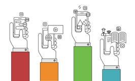 Modern tunn linje lägenhetdesign för vektor av mobila apps stock illustrationer