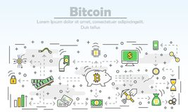 Modern tunn linje lägenhetdesignillustration för Bitcoin advertizingvektor royaltyfri illustrationer