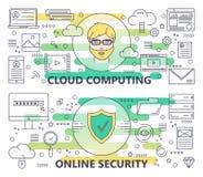 Modern tunn linje molnför vektor beräkning och online-säkerhetsbaner royaltyfri illustrationer