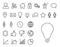 Modern tunn linje symbolsuppsättning Arkivfoto