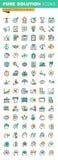 Modern tunn linje symbolsuppsättning av affärsledning, finans, processen för mänsklig hjärna och tillfällen Arkivbilder