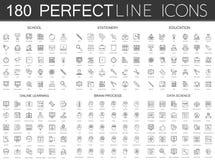 180 modern tunn linje symbolsuppsättning av skolan, brevpapper, utbildning som lär direktanslutet, hjärnprocess, datavetenskap royaltyfri illustrationer