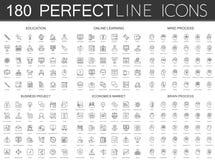180 modern tunn linje symbolsuppsättning av utbildning som lär direktanslutet, meningsprocess, affärsprojekt, nationalekonomimark Arkivfoton