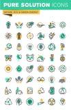 Modern tunn linje symbolsuppsättning av ekologi, hållbar teknologi, förnybara energikällor som återanvänder Royaltyfri Fotografi