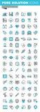 Modern tunn linje uppsättning för lägenhetdesignsymboler av medicinska förnödenheter, sjukvårddiagnosen och behandling royaltyfri illustrationer