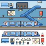 Modern tunnelbana med rulltrappan Arkivbilder
