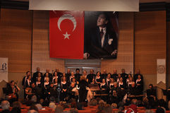 Modern Turkish Classical Music Choir. Performing in Istanbul city on a concert during the celebration of the foundation of Turkish Republic. One of the greatest Royalty Free Stock Images