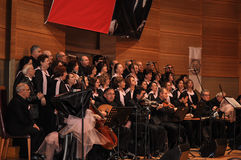 Modern Turkish Classical Music Choir. Performing in Istanbul city on a concert during the celebration of the foundation of Turkish Republic. One of the greatest Stock Photo